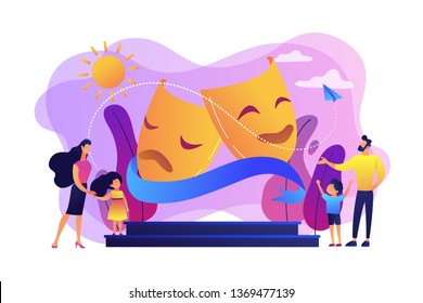 Kids with tutors enjoy acting on theater stage outside, tiny people. Theater camp, summer acting program, young actor courses concept. Bright vibrant violet vector isolated illustration