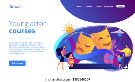 Kids with tutors enjoy acting on theater stage outside, tiny people. Theater camp, summer acting program, young actor courses concept. Website homepage landing web page template.