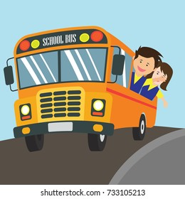 kids with uniform going to school riding yellow school bus in cartoon character. vector illustration