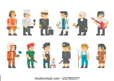Kids with uniforms flat cartoon design illustration vector