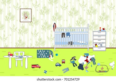 Kids untidy and messy room. Child scattered toys and clothing. Children's room. Mess in the house. Vector illustration