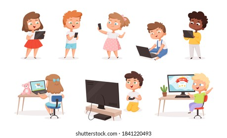 Kids using gadgets. Tablet pc smartphone laptop for children education processes future technology distance learning vector set