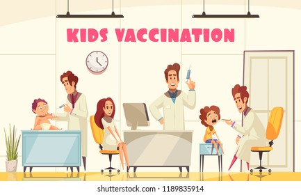 Kids vaccination poster illustrated how medical staff vaccinates young patients in clinic flat vector illustration