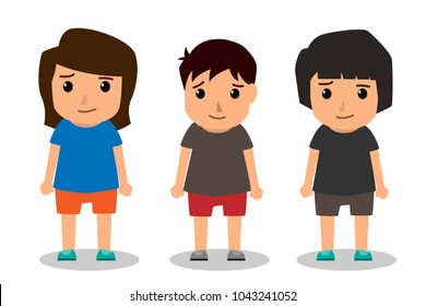 Kids vector characters boys and girls set with happy smile and different hairstyle. Vector illustration.
