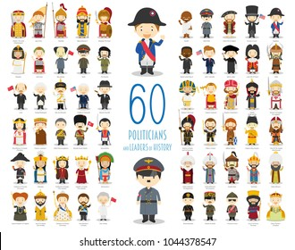 Kids Vector Characters Collection: Set of 60 relevant Politicians and Leaders of History in cartoon style.