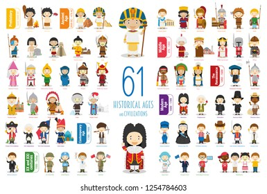 Kids Vector Characters Collection: Set of 61 Historical Ages and Civilizations in cartoon style.