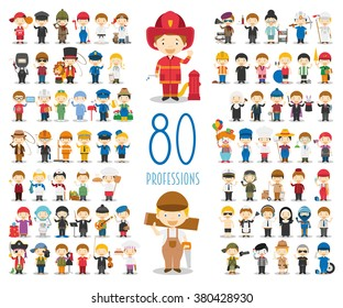 Kids Vector Characters Collection: Set of 80 different professions in cartoon style.