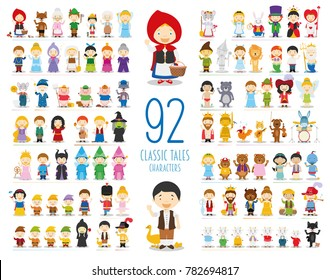 Kids Vector Characters Collection: Set of 92 Classic Tales Characters in cartoon style
