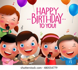 Kids vector characters singing happy birthday and happy playing musical instruments. Vector illustration.