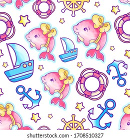 Kid's Vector seamless pattern with pink baby girl dolphin, anchor, ship, helm, life ring, star . Marine theme. Regular background, sweet, childhood, multicolored colors.Printable bright design