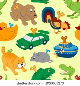 Kids vector toys clockwork key mechanism mechanic cartoon animals in toyshop for child clock work car and boat in playroom illustration seamless pattern background