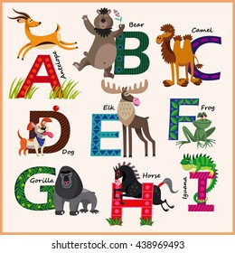 Kids vector Zoo alphabet with animals in cartoon style on a white background. Part 1.