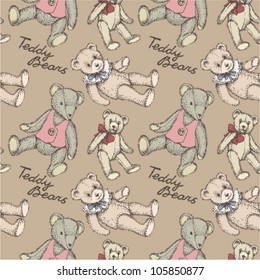 Kid's vintage pattern Teddy Bears on beige