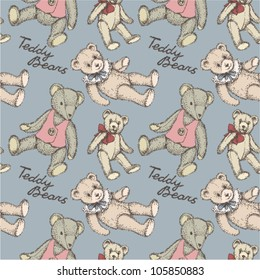 Kid's vintage pattern Teddy Bears on grey