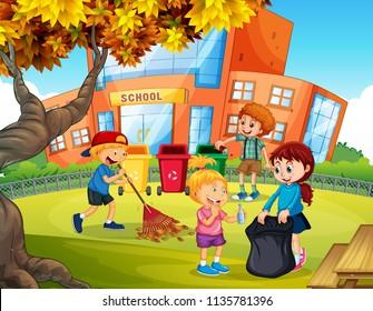 Kids volunteering cleaning up school illustration