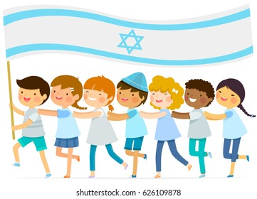 kids walk in a line with a big Israeli flag