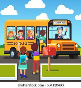 Kids walking to and getting on school bus. Driver waving hand to pupils. Colorful flat style cartoon vector illustration.