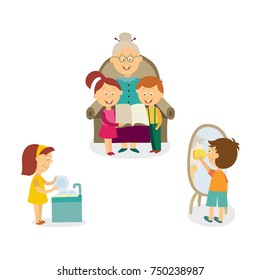 Kids washing dishes, cleaning the house and listening to grandmother reading a story, cartoon vector illustration isolated on white background. Kids help with washing and cleaning, listen to grandma