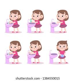 kids washing hand vector illustration isolated