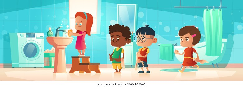 Kids washing hands, children in queue at home bathroom waiting handwashing procedure. Little girl standing on wooden pedestal lather palms with soap, boys wait in line. Cartoon vector illustration