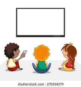Kids watching tv, blank screen, vector illustration