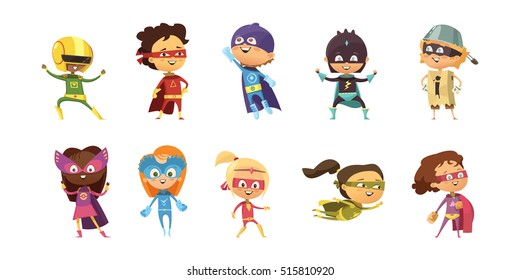 Kids wearing colorful costumes of different superheroes retro set isolated on white background cartoon vector illustration