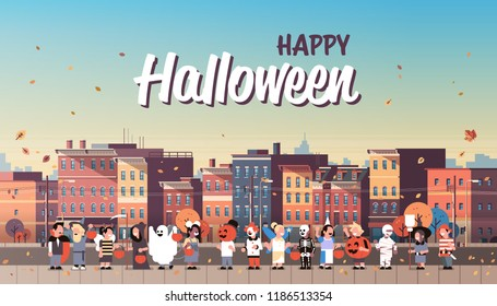 kids wearing monsters costumes walking town holiday concept cityscape background tricks or treat happy halloween cartoon character full length horizontal banner copy space flat vector illustration