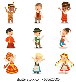 f983f57ca Kids Wearing National Costumes Of Different Countries Set Of Cute Boys And  Girls In Clothes Representing