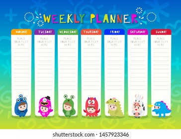 Kids weekly planner with cute monster cartoon characters. A timetable for elementary school. Children schedule design template Vector illustration.