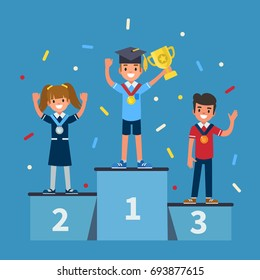 Kids winners standing on podium. Flat style vector illustration.