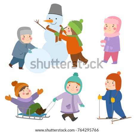 Kids Winter Christmas Games Playground Children Stock Vector ...