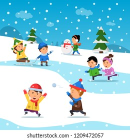 Kids winter playing. Funny smile happiness childrens at cold snowy playground holiday cartoon vector background. Wintertime children playing with snowball illustration