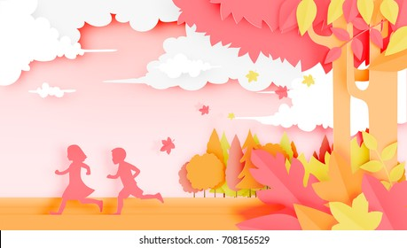 Kids in the woods with paper art style and beautiful pastel color background vector illustration