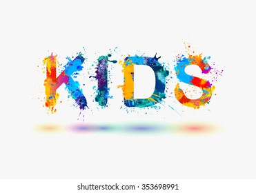 KIDS. Word written spray paint