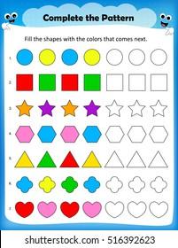 Kids worksheet - complete the pattern