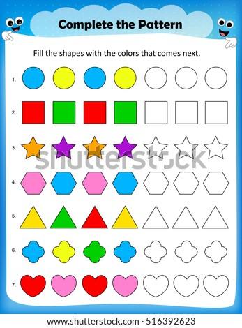 Kids Worksheet Complete Pattern Stock Vector (Royalty Free ...