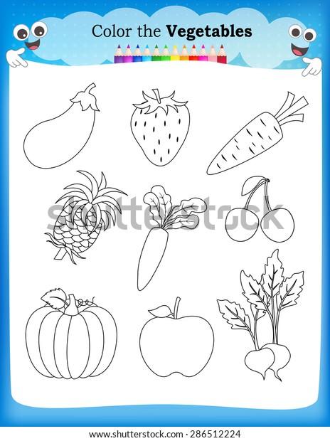 Kids Worksheet Fruits Vegetables Stock Vector (Royalty Free) 286512224