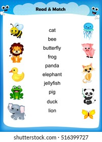 Kids worksheet - read and match the animal name with its picture