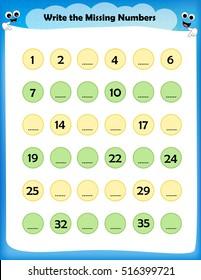 Kids worksheet write the missing numbers - maths worksheet for preschool kids