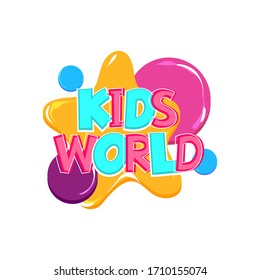 Kids world comic text badge on splash sticker. Colored funny cartoon text for child room and playful zone. Kids party logo comics font. Isolated white vector.