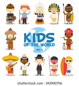 Kids of the world vector illustration: Nationalities Set 3. 12 characters 1 in national costumes (Sweden,Italy, Holland, Egypt, Zulu, Mongolia,India, Mexico, Cuba, Argentina, Venezuela and Australia).