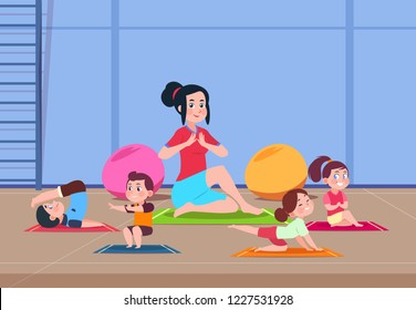 Kids in yoga class. Cartoon children with instructor doing yoga exercises in gym interior. Healthy lifestyle vector concept