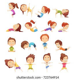 Kids yoga decorative icons set with cute cartoon children in different yoga poses flat vector illustration