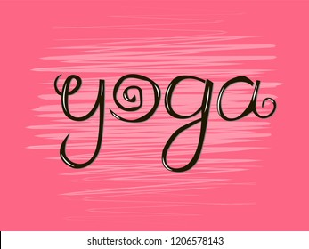 Kids yoga logo. Vector funny letters. Hand drawn illustration.