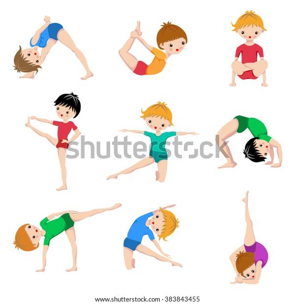 Kids Yoga Poses Gymnastics Healthy Lifestyle Stock Vector Royalty Free 383843455