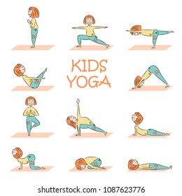 Kids yoga set with cute cartoon girl in different yoga poses. Flat design. Vector illustration
