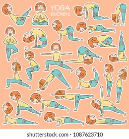 Kids yoga sticker set with cute cartoon girl in different yoga poses. Flat design. Vector illustration