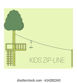 Kids zip line. Adventure rope park icon.  Vector illustration.