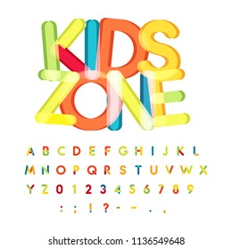 Kids zone alphabet, candy style, colorful vector font. Kids party, childrens birthday alphabet, holiday decoration, vector colorful letters.