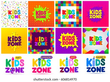 Kids Zone banner design big set. Children Playground. Colorful logos. Vector illustration. Isolated on white background.